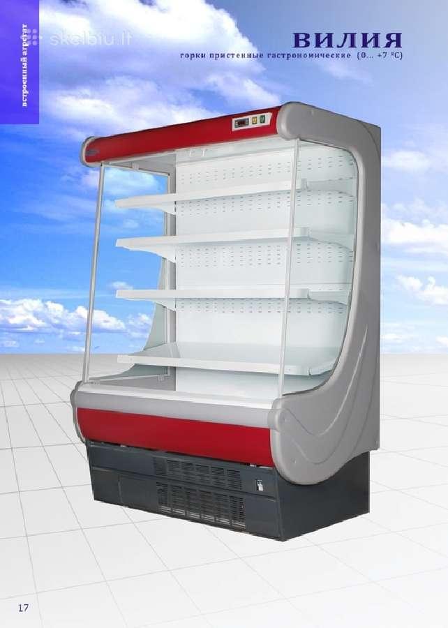 Priesienio šaldomos lentynos šaldymo vitrinos