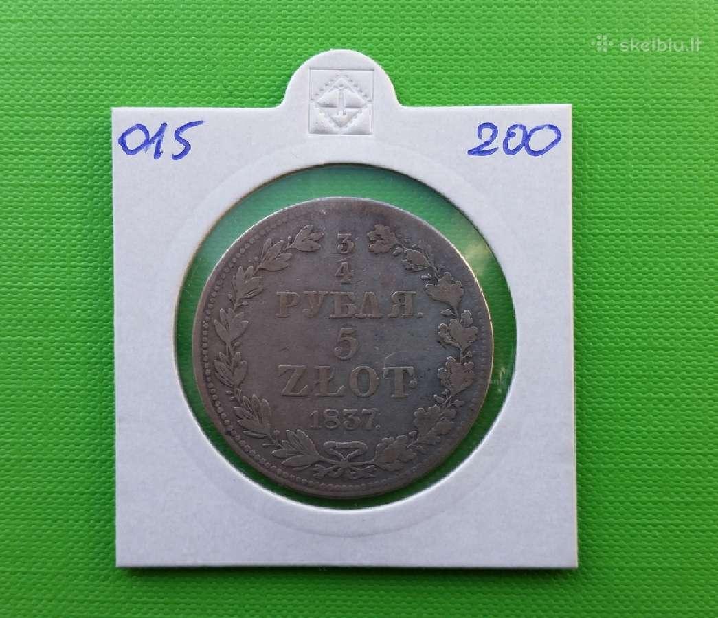 3/4 rub 5 zl 1837 m. Rusija-lenkija