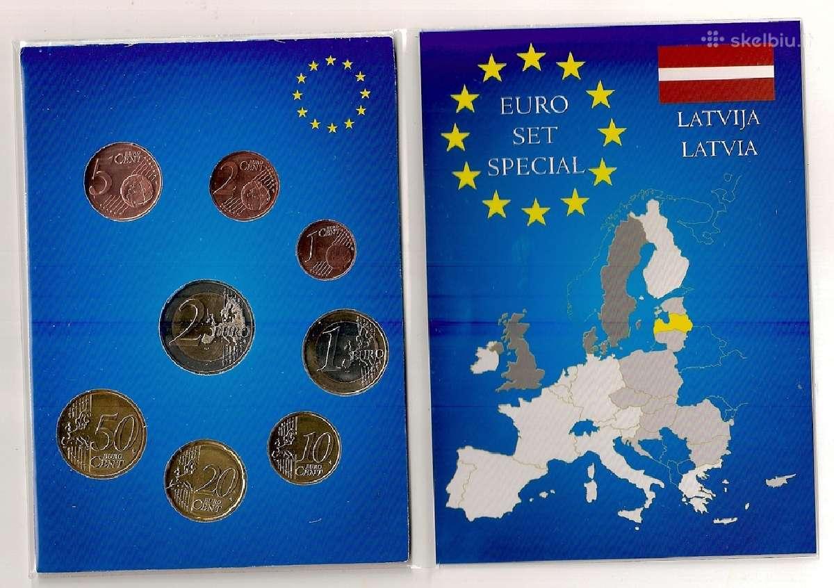Dėkliukas su Latvijos Euro monetom Unc