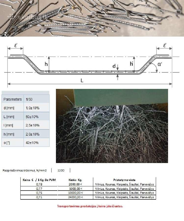 Metalinė fibra - metalinės vielos plaušas
