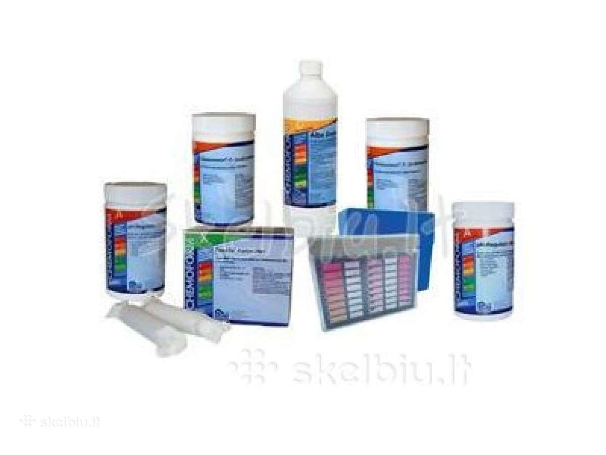 Chemikalai baseinui, chloras, algicidas, Ph