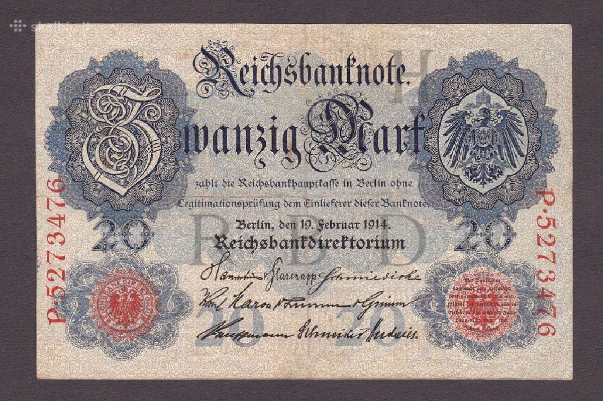 Vokietija kupiura 20 marka 1914 N96+*