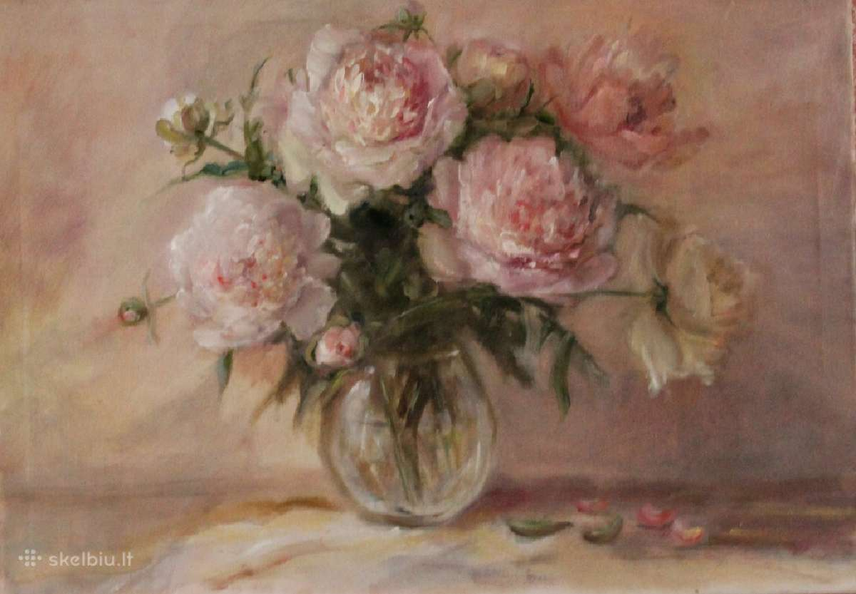 White peonies, oil on canvas 50x70,130 e