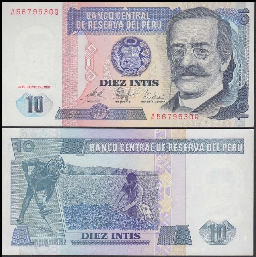 Peru 10 Intis 1987m. P129 Unc