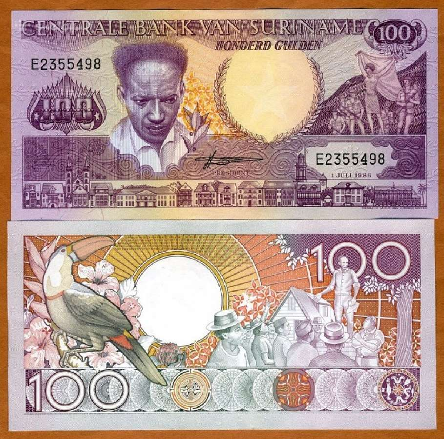 Surinamas 100 Guldenu 1986m. P133a Unc