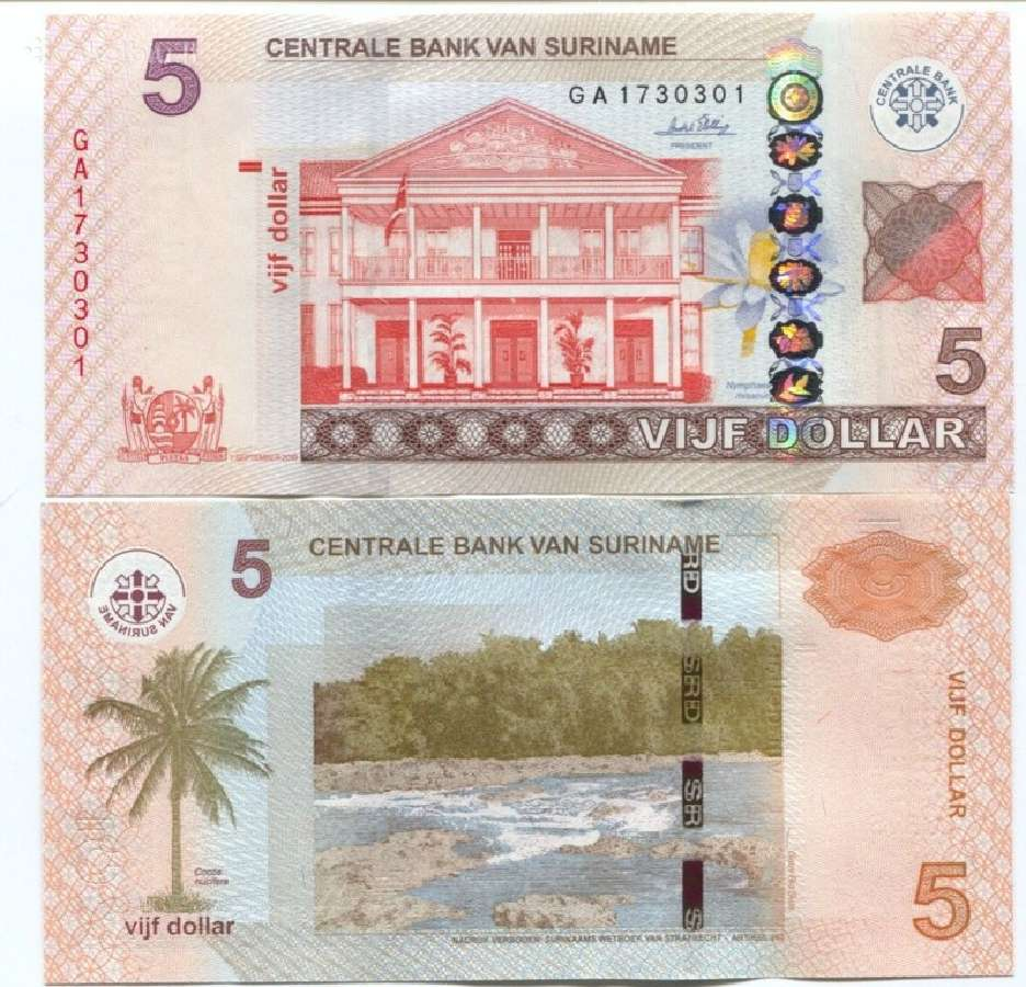 Surinamas 5 Dolleriai 2010mm. P162 Unc