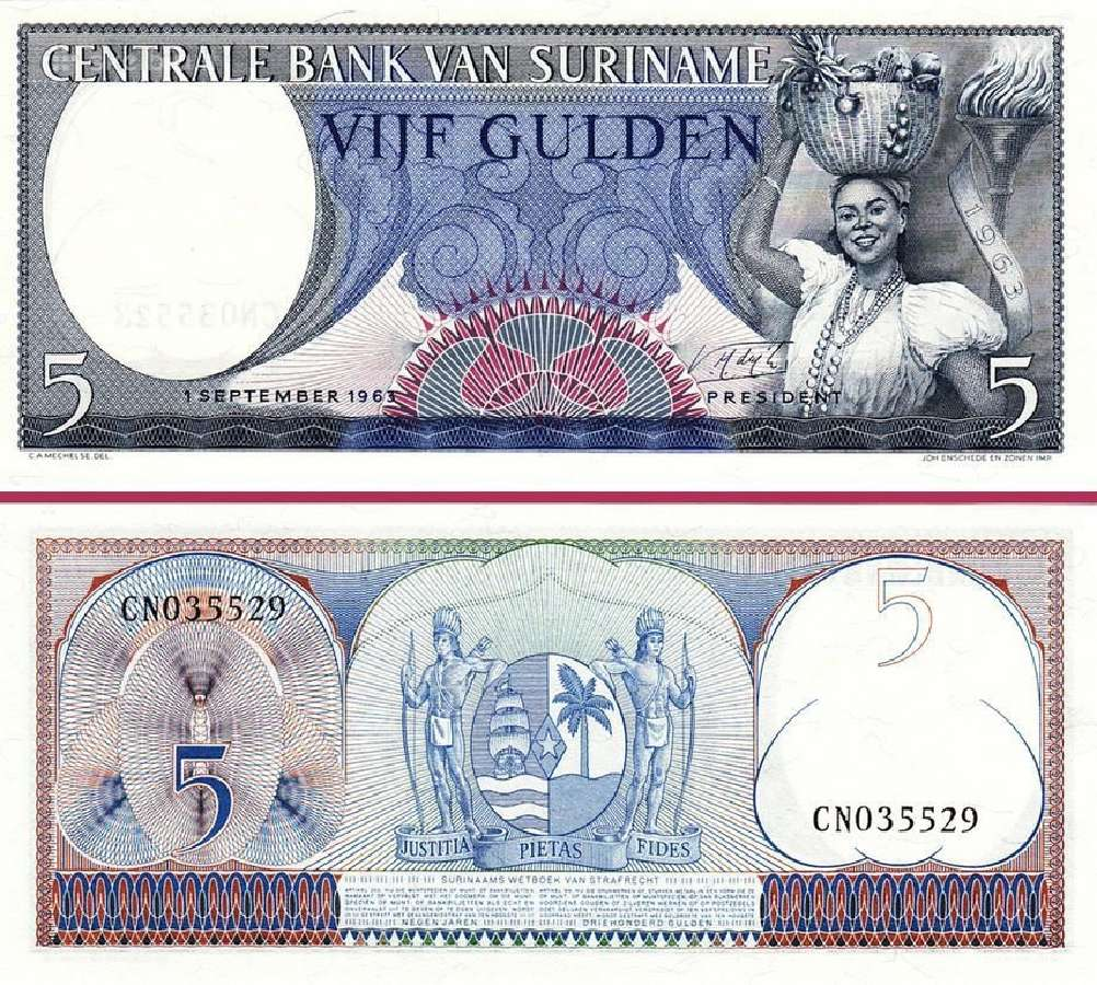Surinamas 5 Gulden 1963m. P120 Unc