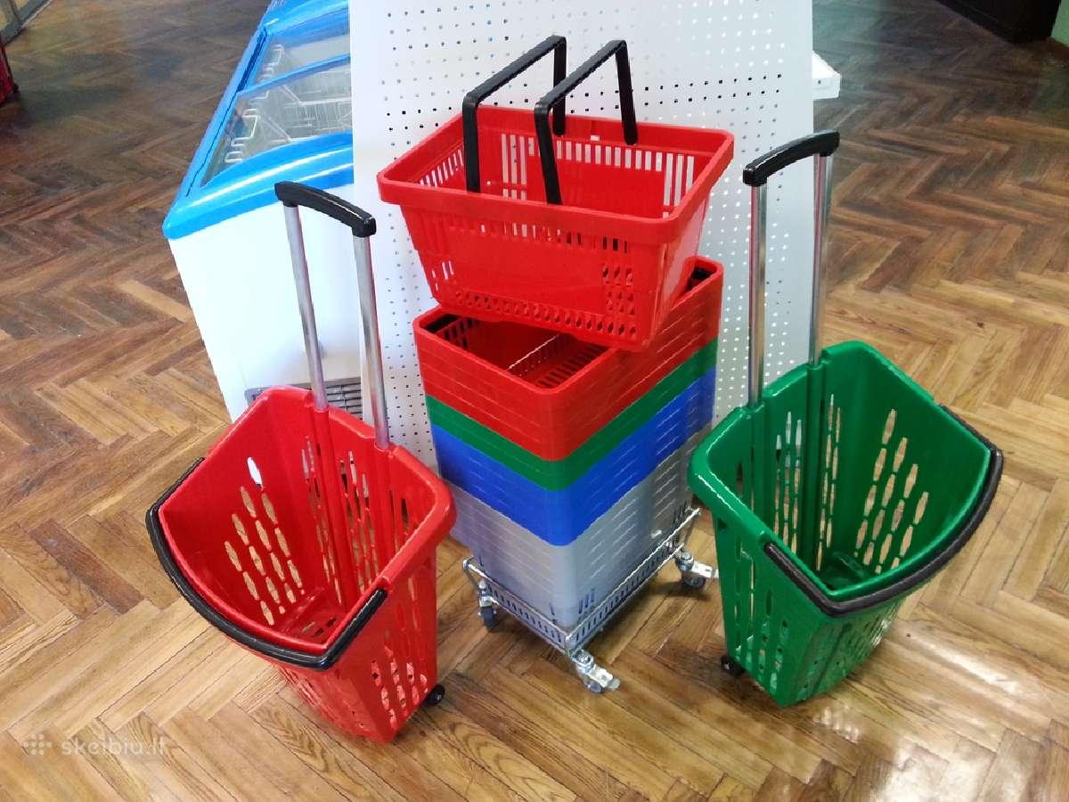 Prekybiniai krepšeliai su ištraukiama rankena