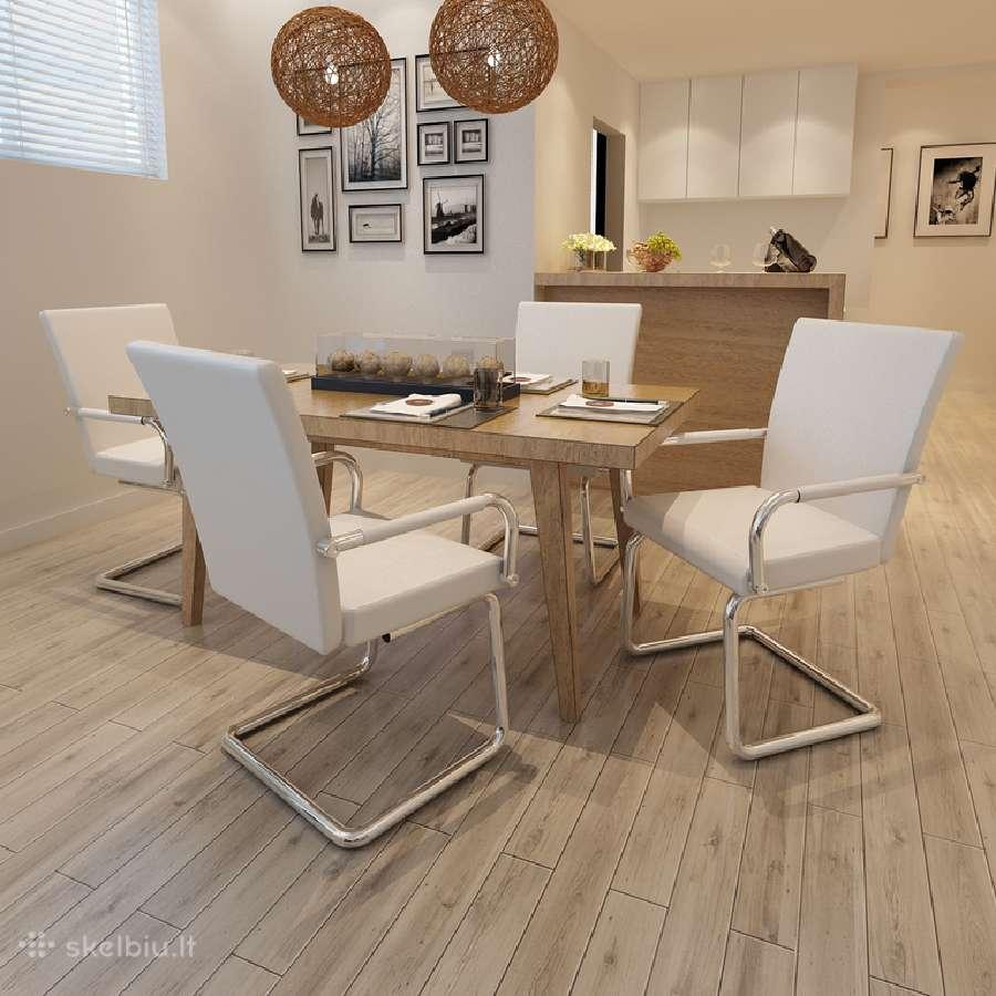 4 Baltos Modernios Valgomojo Kėdės