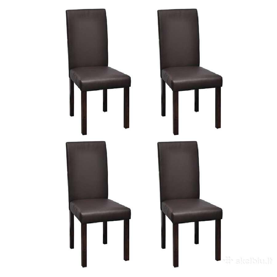 Keturios Valgomojo Kėdės, Ruda Oda, vidaxl