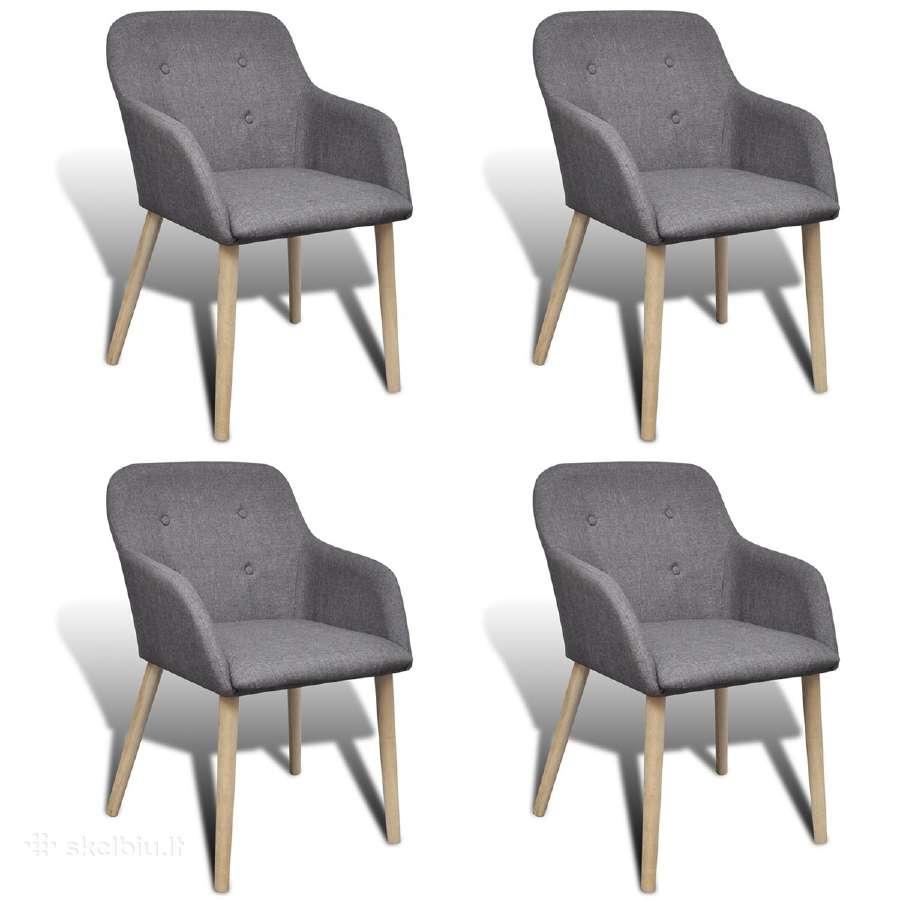 4 Ąžuolinių Kėdžių Komplektas, vidaxl