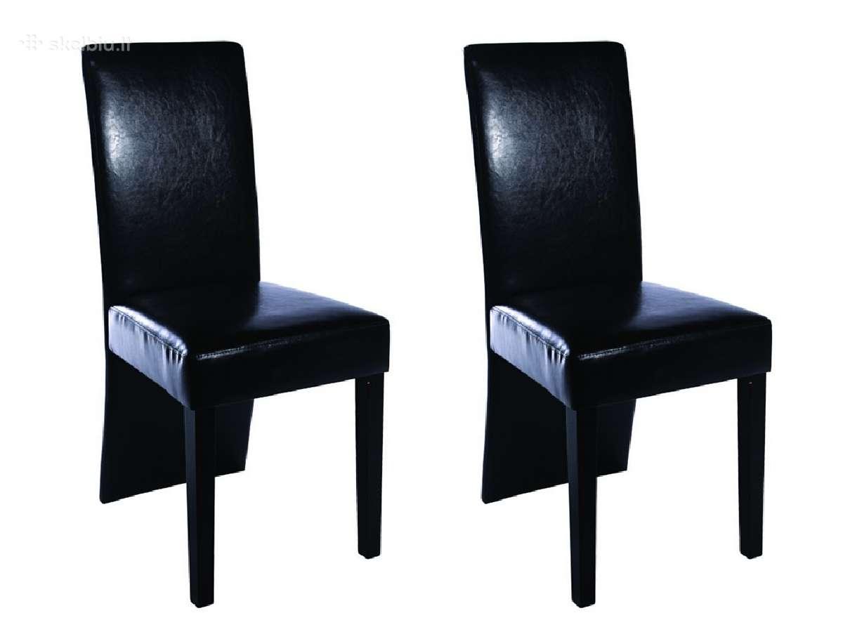 2 Juodos Valgomojo Kėdės iš Dirbtinės Odos, vidaxl