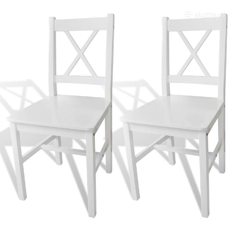 2 Medinės Valgomojo Kėdės, Baltos, vidaxl