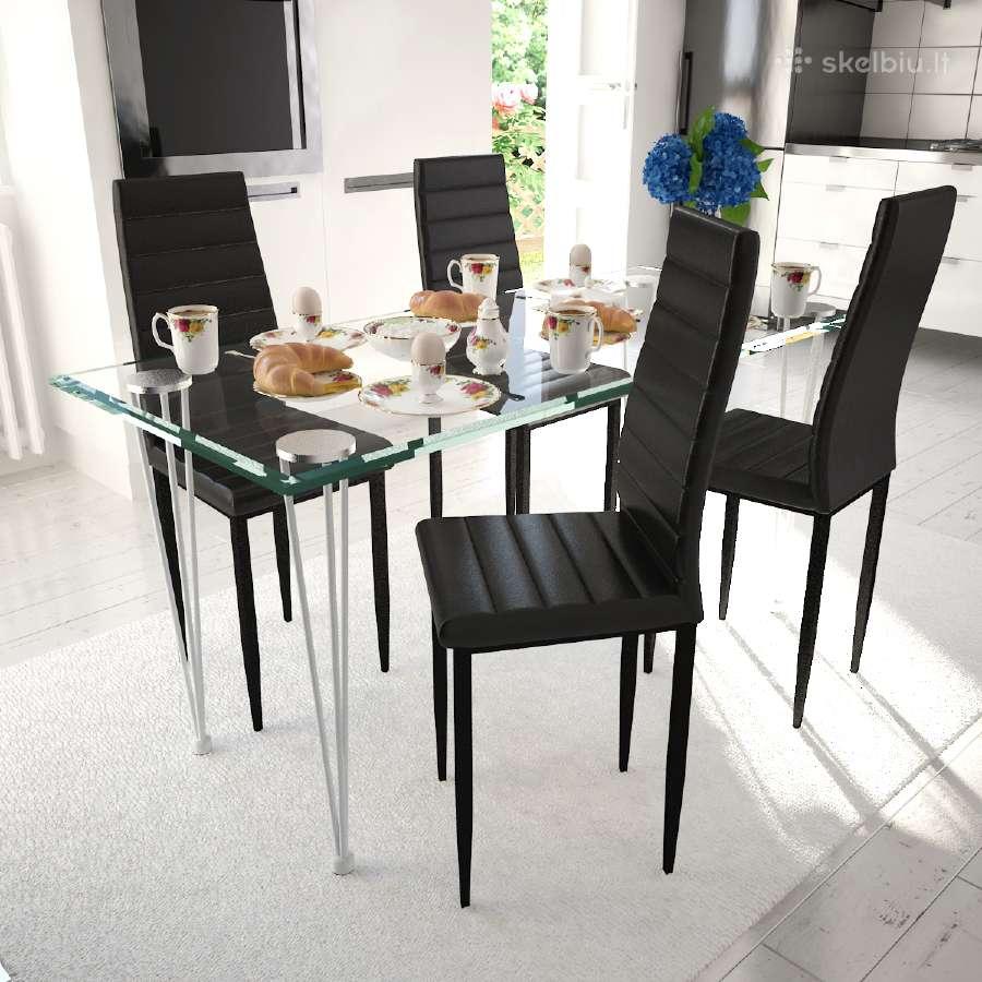 4 Grakščių Linijų Valgomojo Kėdės, Juodos, vidaxl