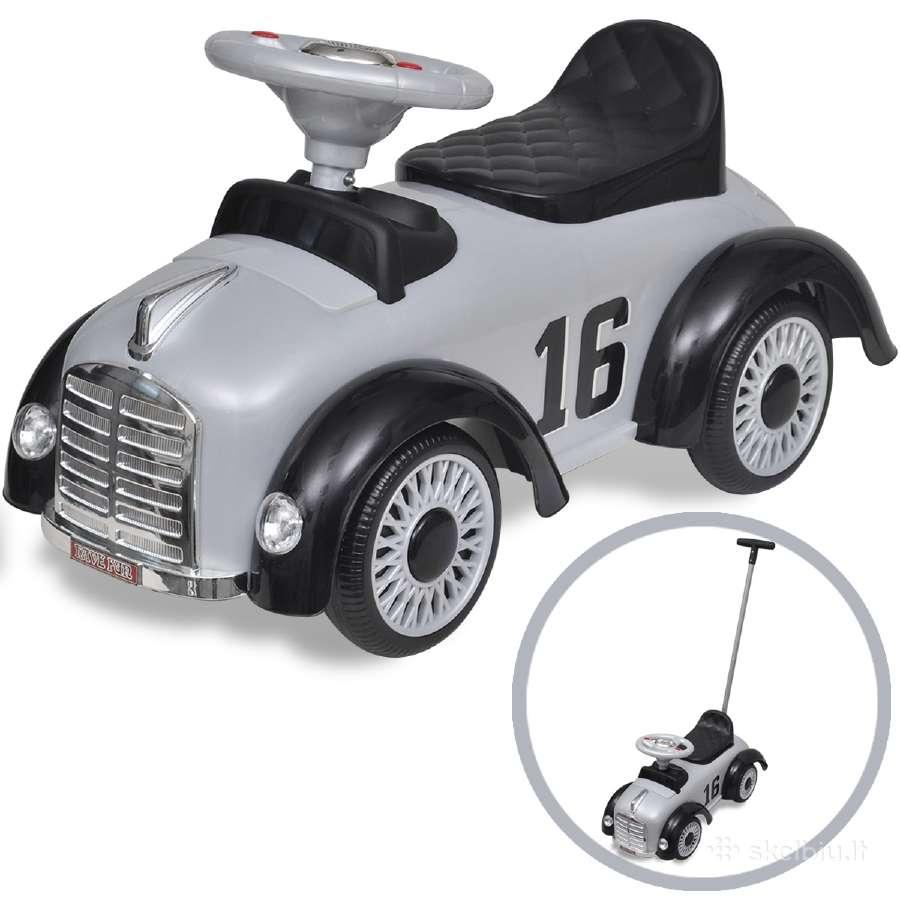 Retro Vaikiškas Automobilis su Stūmimo Rankena