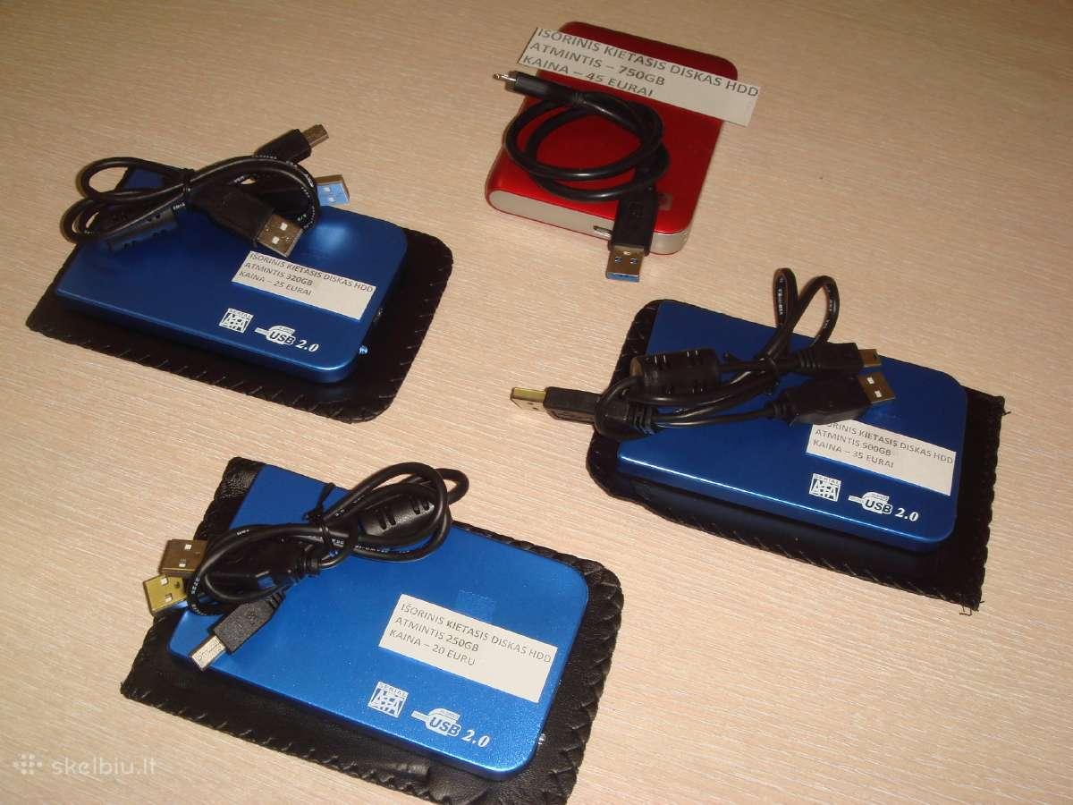 Išoriniai HDD 250gb/320gb/500gb/750gb.