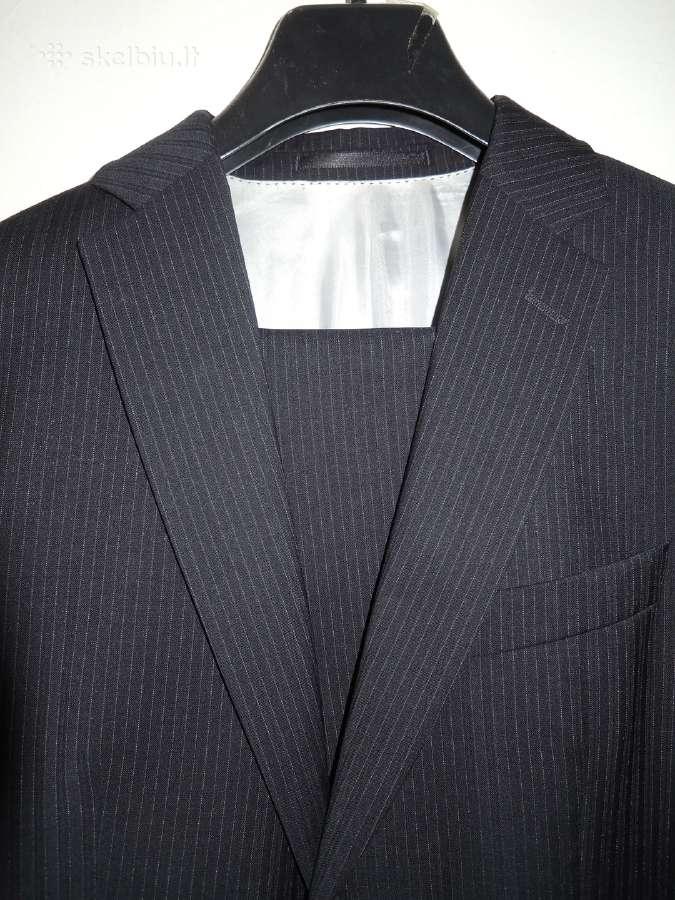 Drižuotas tamsiai mėlynas kostiumas 100% vilna
