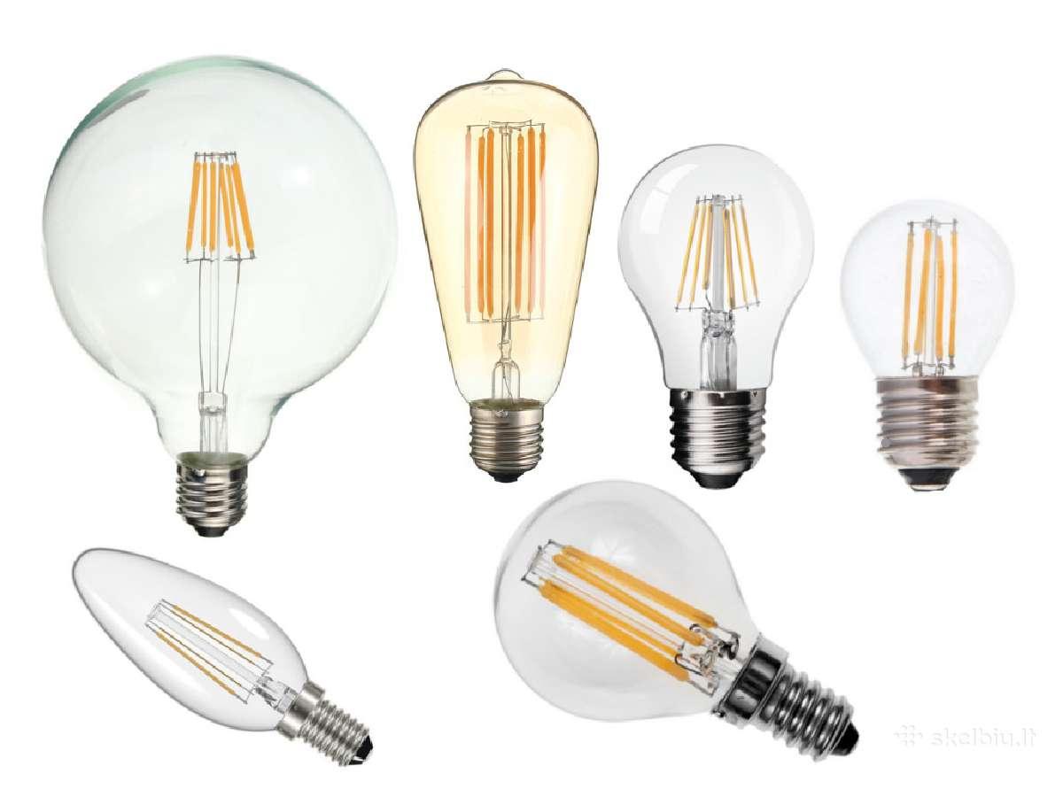 Led lemputės filament, skaidrios