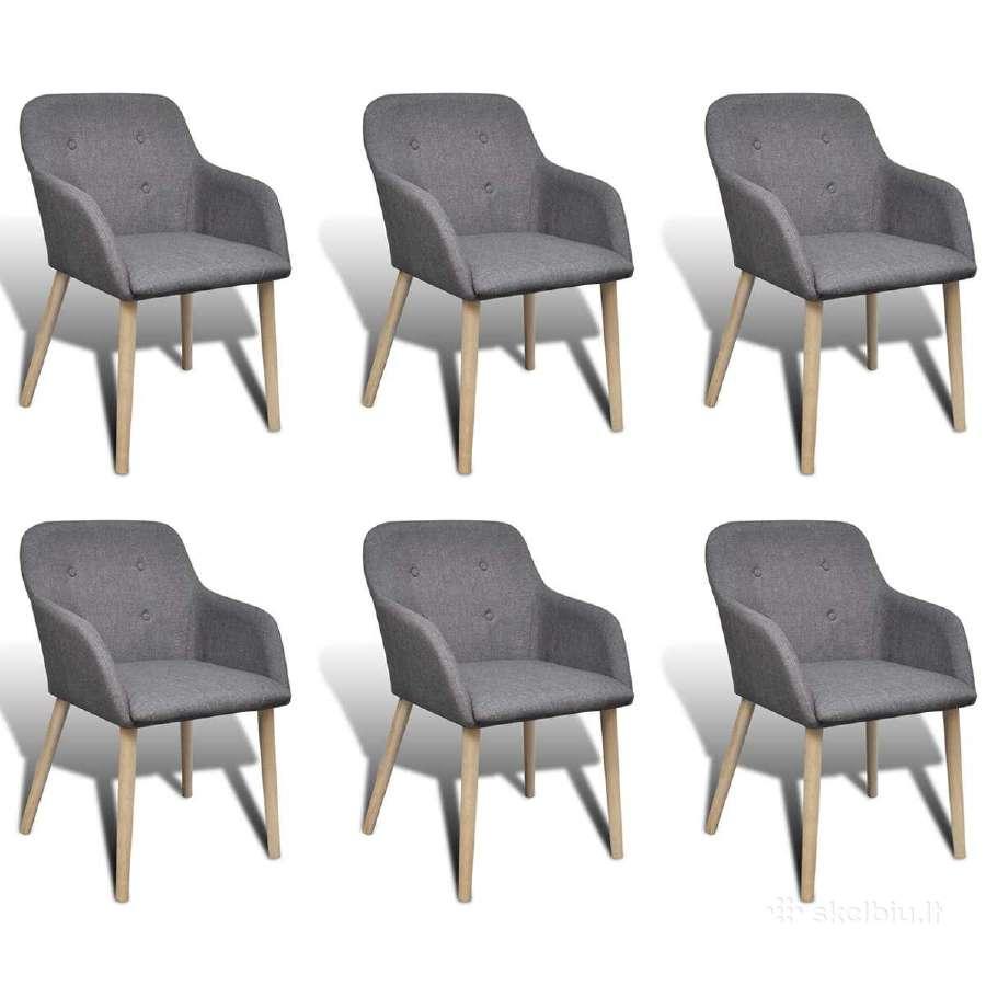 6 Ąžuolinės Valgomojo Kėdės, vidaxl