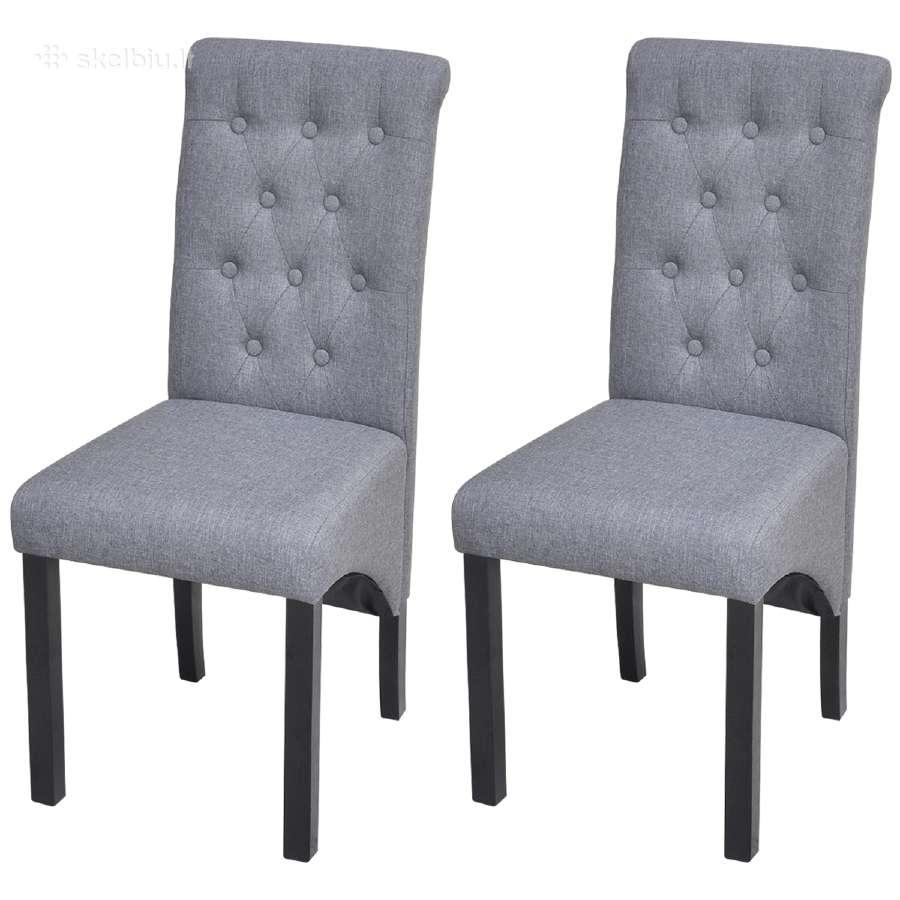 2 Tamsiai Pilkos Valgomojo Kėdės, vidaxl