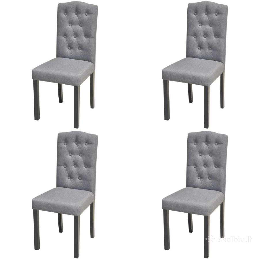 4 Tamsiai Pilkos Valgomojo Kėdės, vidaxl