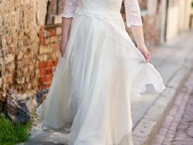 42/44 d. šilko-gipiūro vestuvinė suknelė