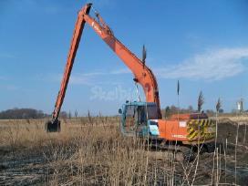 Tvenkinių kasimas. ilgastrėlių ekskavatorių nuoma