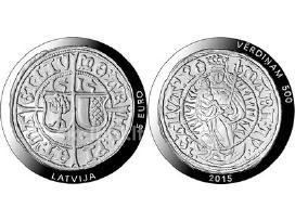 """Latvijos 5 eurų sidabrinė moneta """"Vērdiņam 500"""""""