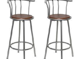 Dviejų Baro Kėdžių Komplektas, Medis ir Plienas
