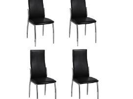 4 Valgomojo Kėdės, Chromas ir Juoda Oda, vidaxl
