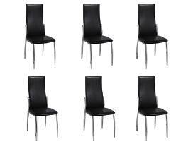 6 Valgomojo Kėdės, Chromas ir Juoda Oda, vidaxl