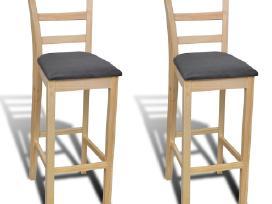 2 Skaidriai Lakuotos Medinės Baro Kėdės vidaxl