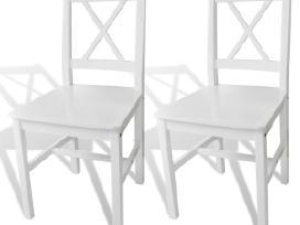 2 Medinės Valgomojo Kėdės Baltos vidaxl