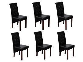6 Valgomojo Kėdės Juodos vidaxl