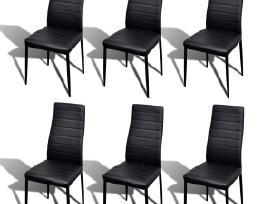 6 Juodos Kėdės ir 1 Stiklinis Stalas, vidaxl