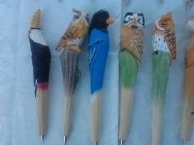 Rankų darbo mediniai rašikliai vaikams