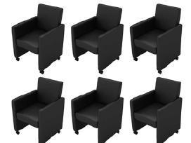 6 Krėslų Komplektas, Juoda Dirbtinė Oda, vidaxl