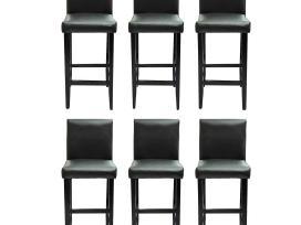 6 Juodos Dirbtinės Odos Baro Kėdės, vidaxl