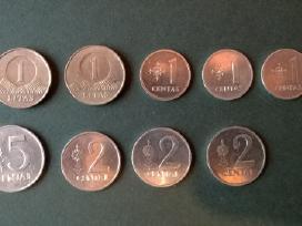Lietuviškų litų monetos, centai, 1991-2010m.,