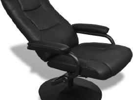 Reguliuojamas Dirbtinės Odos Krėslas su Kėdute