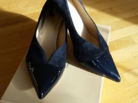 Mėlynos spalvos verstos odos bateliai