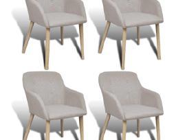 4 Ąžuolinės Audiniu Aptrauktos Kėdės, vidaxl