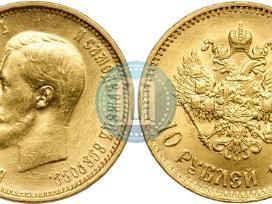 Pirksiu 5. 7,5. 10. 15 .rublių auksinę carinę mone