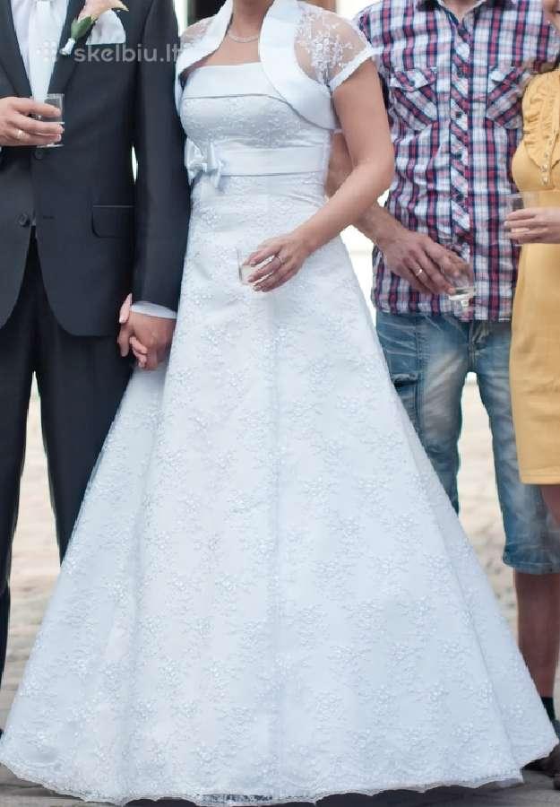 Balta, lengva, aformos,siuvinėta vestuvinė suknelė