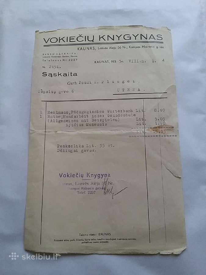 Knygų pirkimų sąskaita,1933 m