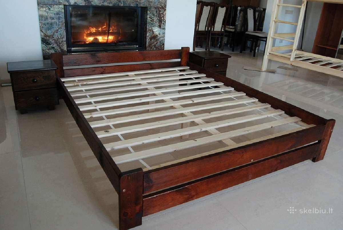 Nauja dvigulė lova pusis naturalus masyvas 140x200