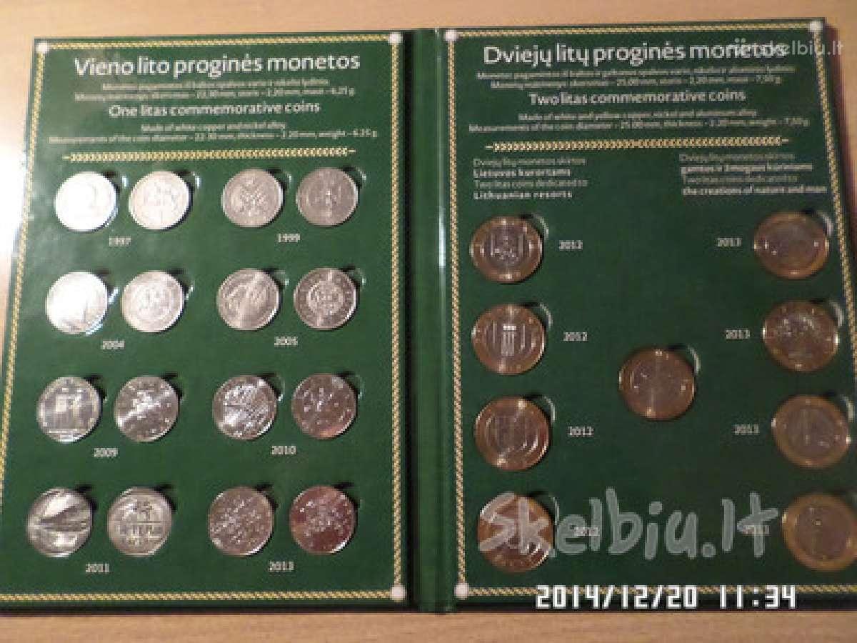 1 lito ir2 litų Unc rinkinys (orginali dovana)