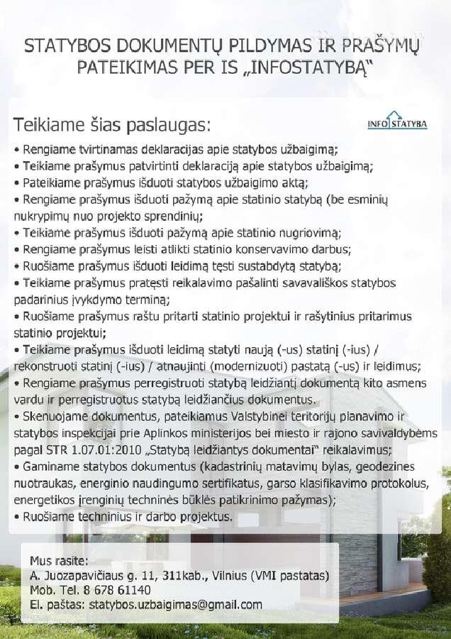 Statybos dokumemtų pildymas,pateikimas infostatyba