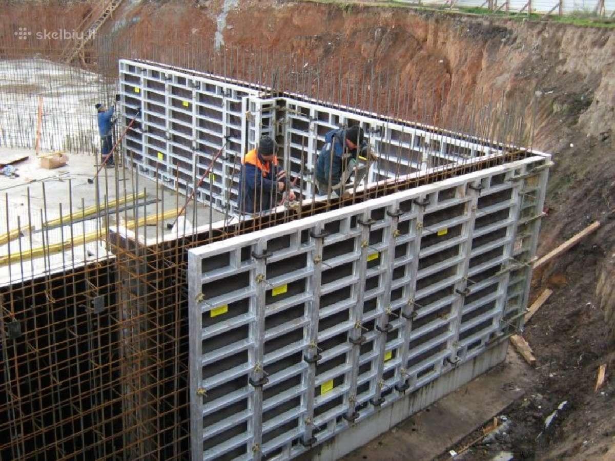 Pamatų, perdangų, sienų betonavimas, mūro darbai