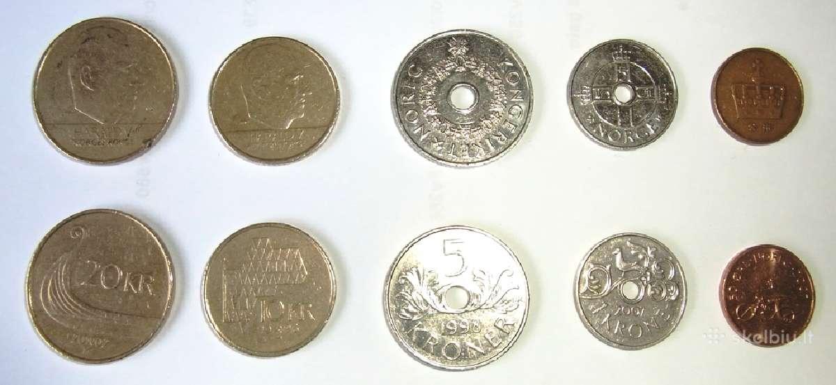 Perku Norvegijos ir Švedijos monetas bei banknotus